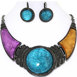 "19"" Necklace Earrings Set Turquoise Purple Orange Gray FNE000"